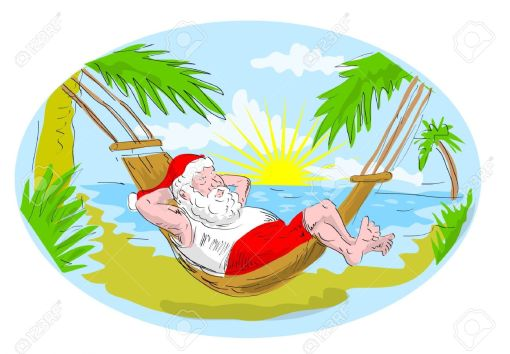 5790438-cartoon-illustration-of-santa-claus-in-hammock-relaxing-in-tropical-beach-Stock-Illustration
